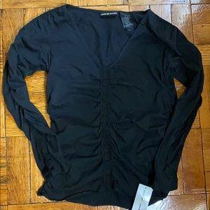 NWT DKNY Jeans long sleeve black top